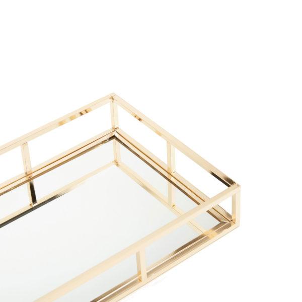 bandeja espejo dorada