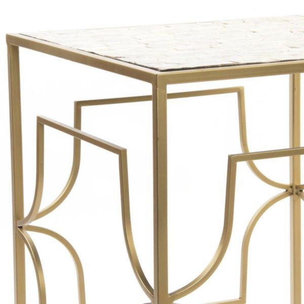 mesa auxiliar nácar dorado