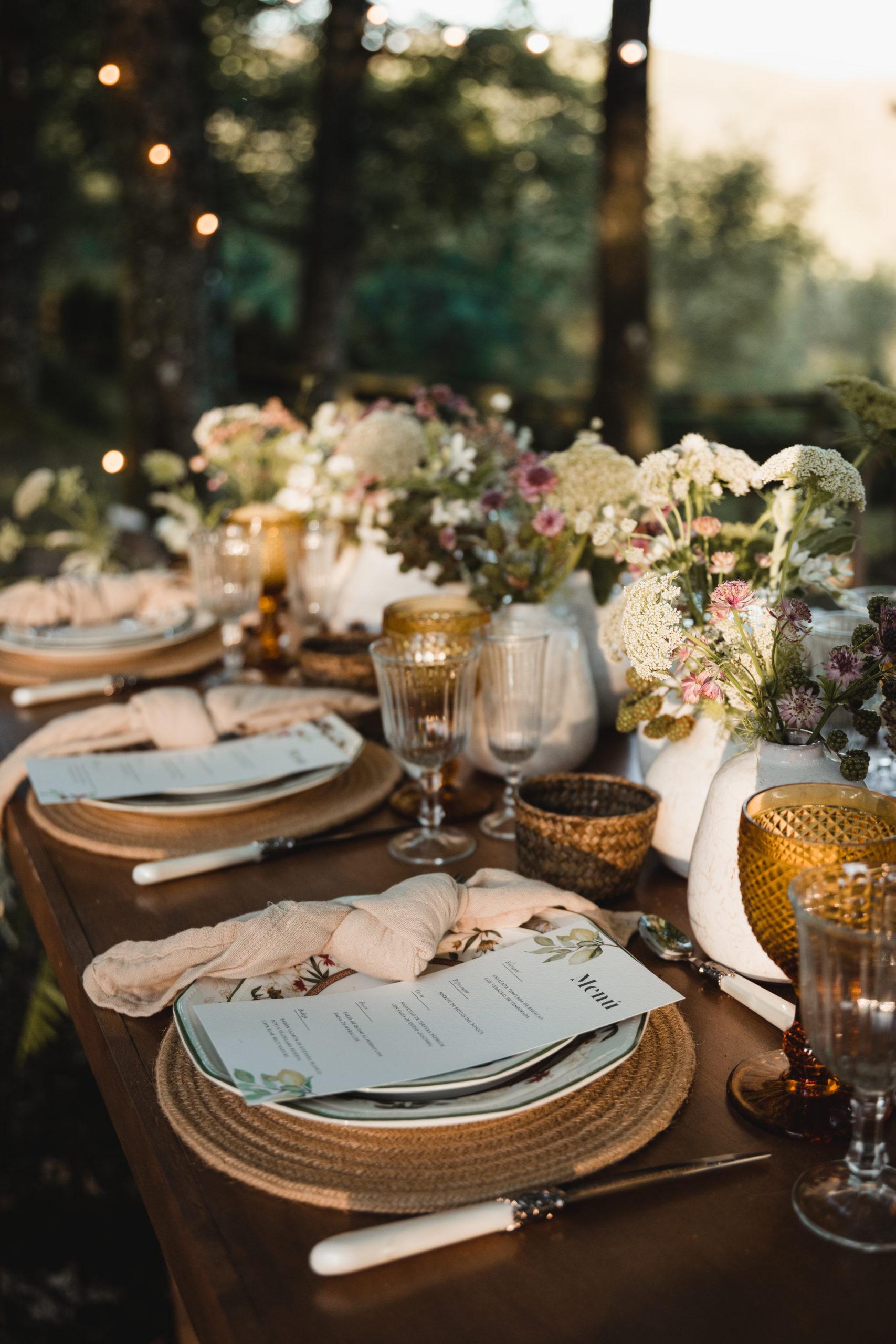 Menaje nupcial y decoración para una boda en la montaña