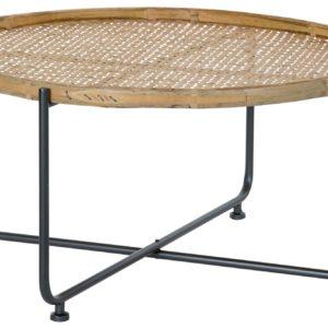 mesa de metal y ratán